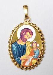 Immagine di San Giuseppe Ciondolo Pendente ovale a corona mm 24x30 (0,94x1,18 inch) Argento placcato Oro e Porcellana da Donna
