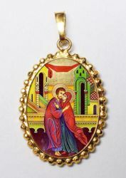 Picture of The embrace of the newlyweds St Anne and Saint Joachim Gold plated Silver and Porcelain Pendant with crown frame mm 24x30 (0,94x1,18 inch) for Woman