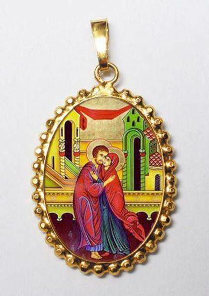 Immagine di L' abbraccio degli sposi Sant' Anna e San Gioacchino Ciondolo Pendente ovale a corona mm 24x30 (0,94x1,18 inch) Argento placcato Oro e Porcellana da Donna
