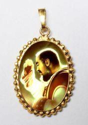 Immagine di Padre Pio Ciondolo Pendente ovale a corona mm 24x30 (0,94x1,18 inch) Argento placcato Oro e Porcellana da Donna