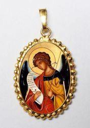 Immagine di Arcangelo Gabriele Ciondolo Pendente ovale a corona mm 24x30 (0,94x1,18 inch) Argento placcato Oro e Porcellana da Donna e Bambini