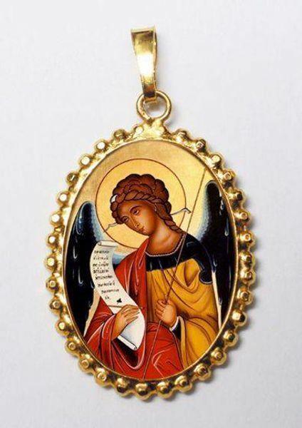 Imagen de Arcángel Gabriel Medalla colgante oval de corona mm 24x30 (0,94x1,18 inch) Plata con baño de oro y Porcelana para Mujerny y Niños