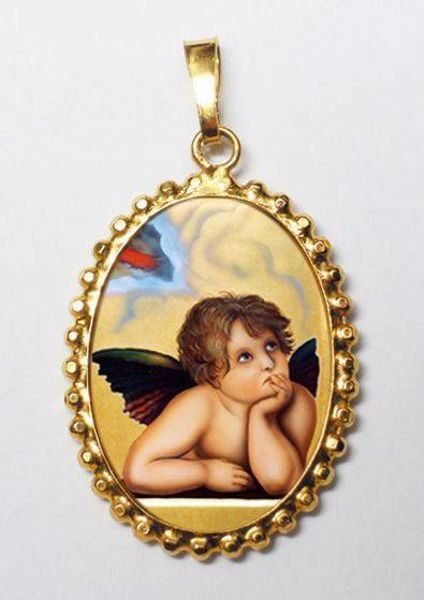 Picture of Angel Gold plated Silver and Porcelain Pendant with crown frame mm 24x30 (0,94x1,18 inch) for Woman and Kids