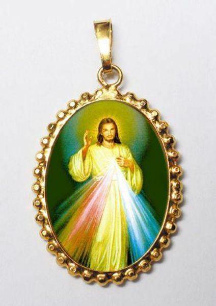 Imagen de Jesús misericordioso Medalla colgante oval de corona mm 24x30 (0,94x1,18 inch) Plata con baño de oro y Porcelana para Mujer