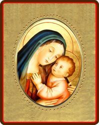 Picture of Virgin with Child Porcelain Icon on golden board cm 8x10x1,3 (3,15x3,9x0,5 inch) for table and wall