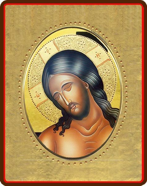 Picture of Christ Porcelain Icon on golden board cm 8x10x1,3 (3,15x3,9x0,5 inch) for table and wall