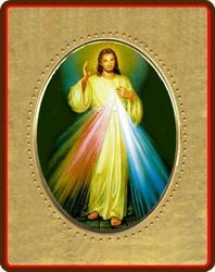 Picture of Merciful jesus Porcelain Icon on golden board cm 8x10x1,3 (3,15x3,9x0,5 inch) for table and wall