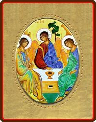 Immagine di Trinità Icona in porcellana su tavola dorata cm 8x10x1,3 (3,15x3,9x0,5 inch) da muro e da tavolo