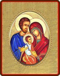 Imagen de Sagrada Familia Icono de Porcelana sobre tablero dorado cm 8x10x1,3 (3,15x3,9x0,5 inch) de mesa y pared