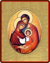 Immagine di Sacra Famiglia Icona in porcellana su tavola dorata cm 8x10x1,3 (3,15x3,9x0,5 inch) da muro e da tavolo