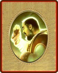 Immagine di Padre Pio da Pietralcina Icona in porcellana su tavola dorata cm 8x10x1,3 (3,15x3,9x0,5 inch) da muro e da tavolo
