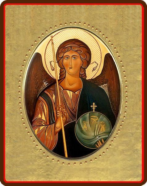 Picture of Archangel Michael Porcelain Icon on golden board cm 8x10x1,3 (3,15x3,9x0,5 inch) for table and wall