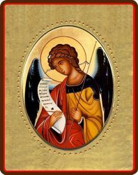 Picture of Archangel Gabriel Porcelain Icon on golden board cm 8x10x1,3 (3,15x3,9x0,5 inch) for table and wall