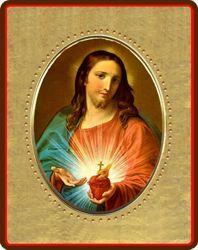 Immagine di Sacro Cuore di Gesù Icona in porcellana su tavola dorata cm 8x10x1,3 (3,15x3,9x0,5 inch) da muro e da tavolo