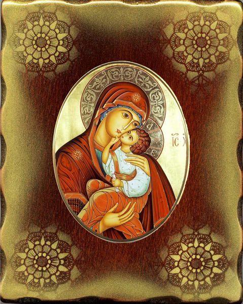 Imagen de Virgen con Niño Icono de Porcelana sobre tablero dorado cm 15x20x2,5 (5,9x7,9x1,0 inch) de mesa y pared