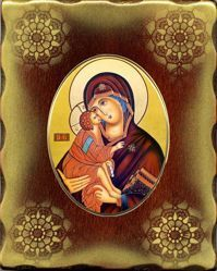 Picture of Virgin with Child Porcellain Icon on golden board cm 15x20x2,5 (5,9x7,9x1,0 inch) for table and wall