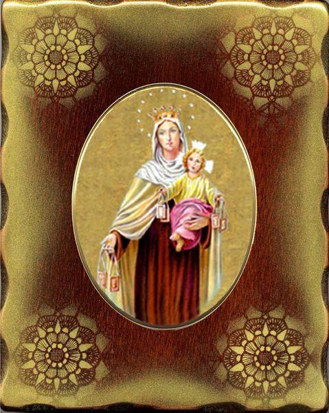 Immagine di Madonna con Bambino Icona in Porcellana su tavola dorata cm 15x20x2,5 (5,9x7,9x1,0 inch) da muro e da tavolo