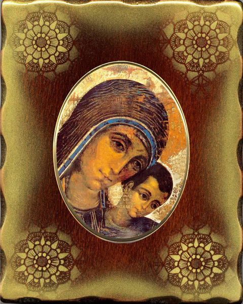 Picture of Virgin Mary with Child by Kiko Porcellain Icon on golden board cm 15x20x2,5 (5,9x7,9x1,0 inch) for table and wall