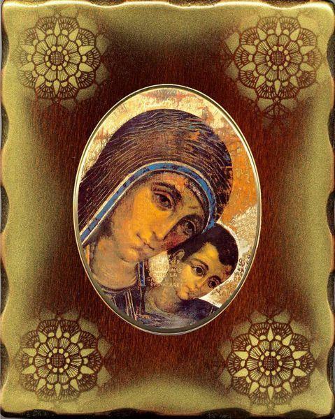 Imagen de Virgen del Camino Icono de Porcelana sobre tablero dorado cm 15x20x2,5 (5,9x7,9x1,0 inch) de mesa y pared