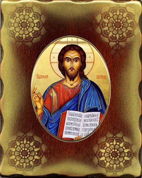 Imagen de Cristo Icono de Porcelana sobre tablero dorado cm 15x20x2,5 (5,9x7,9x1,0 inch) de mesa y pared