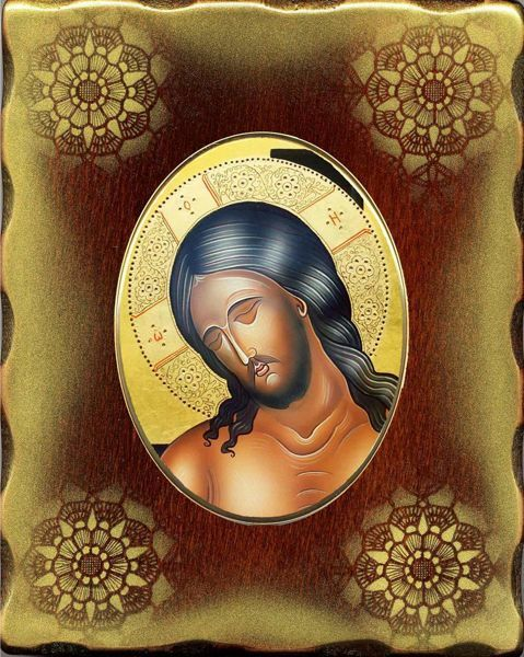 Immagine di Cristo Icona in Porcellana su tavola dorata cm 15x20x2,5 (5,9x7,9x1,0 inch) da muro e da tavolo