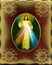 Picture of Merciful Jesus Porcellain Icon on golden board cm 15x20x2,5 (5,9x7,9x1,0 inch) for table and wall