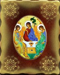 Immagine di Trinità Icona in Porcellana su tavola dorata cm 15x20x2,5 (5,9x7,9x1,0 inch) da muro e da tavolo