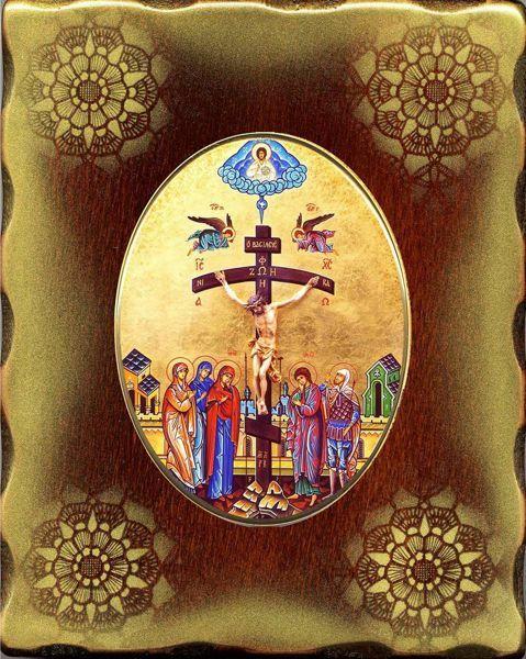 Immagine di Crocifissione Icona in Porcellana su tavola dorata cm 15x20x2,5 (5,9x7,9x1,0 inch) da muro e da tavolo