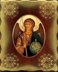 Picture of Archangel Michael Porcellain Icon on golden board cm 15x20x2,5 (5,9x7,9x1,0 inch) for table and wall