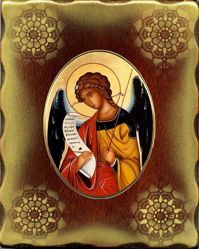 Picture of Archangel Gabriel Porcellain Icon on golden board cm 15x20x2,5 (5,9x7,9x1,0 inch) for table and wall