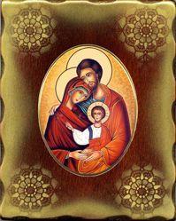 Imagen de Sagrada Familia Icono de Porcelana sobre tablero dorado cm 15x20x2,5 (5,9x7,9x1,0 inch) de mesa y pared