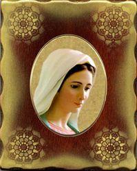 Imagen de Madonna Icono de Porcelana sobre tablero dorado cm 15x20x2,5 (5,9x7,9x1,0 inch) de mesa y pared