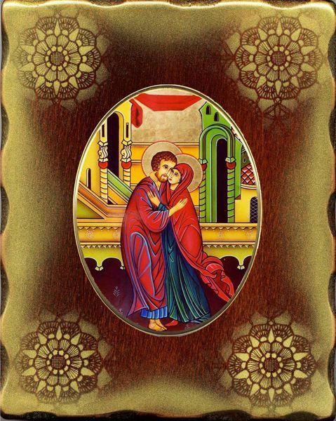Immagine di L' abbraccio degli sposi - Sant' Anna e San Gioacchino Icona in Porcellana su tavola dorata cm 15x20x2,5 (5,9x7,9x1,0 inch) da muro e da tavolo