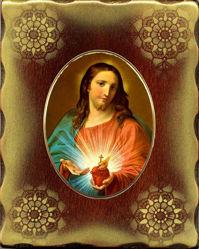 Imagen de Sagrado Corazón de Jesús Icono de Porcelana sobre tablero dorado cm 15x20x2,5 (5,9x7,9x1,0 inch) de mesa y pared