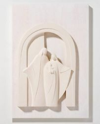 Picture of Holy Family Porch on wooden board cm 30x40 (11,8x15,7 inch) Bas-relief Nativity Scene Sculpture in white refractory clay Ceramica Centro Ave Loppiano
