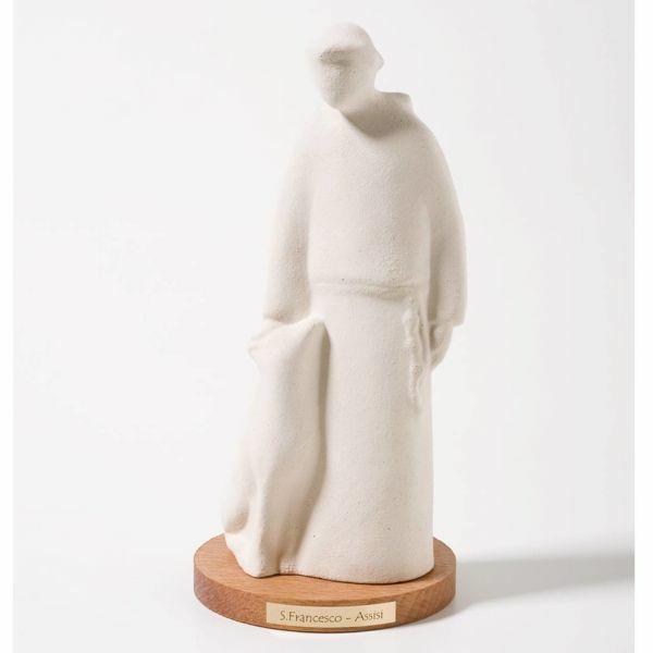 Immagine di San Francesco base in legno cm 16 (6,3 inch) Scultura in argilla refrattaria bianca Ceramica Centro Ave Loppiano