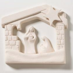 Picture of Holy Family Stable Natural cm 15,5x13,5 (6,1x5,3 inch) Bas-relief Nativity Scene Sculpture in white refractory clay Ceramica Centro Ave Loppiano