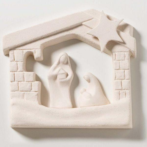 Immagine di Sacra Famiglia Casetta Natale Naturale cm 15,5x13,5 (6,1x5,3 inch) Presepe bassorilievo in argilla refrattaria bianca Ceramica Centro Ave Loppiano