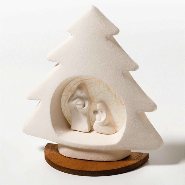 Immagine di Alberello di Natale base in legno Ecru cm 21 (8,3 inch) Statua Presepe in argilla refrattaria bianca Ceramica Centro Ave Loppiano