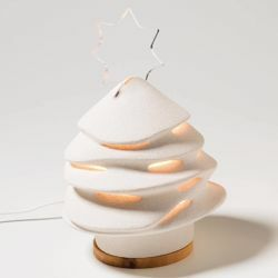 Picture of Christmas Tree with internal lighting cm 28 (11,0 inch) Sculpture in white refractory clay Ceramica Centro Ave Loppiano