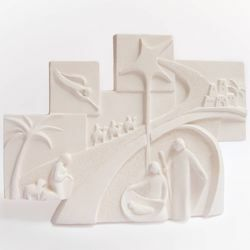 Picture of Christmas Tale cm 30x22,5 (11,8x8,9 inch) Bas-relief Nativity Scene Sculpture in white refractory clay Ceramica Centro Ave Loppiano