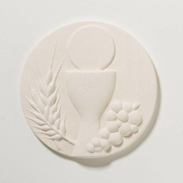 Picture of Tondo First Communion cm 11 (4,3 inch) Sculpture in white refractory clay Ceramica Centro Ave Loppiano