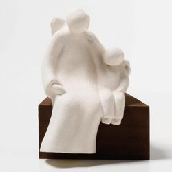 Picture of My Angel Friend on wooden board cm 15 (5,9 inch) Sculpture in white refractory clay Ceramica Centro Ave Loppiano