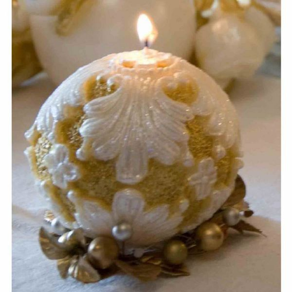 Picture of Christmas Candle Ancient Ball, ivory