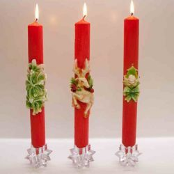 Picture of Three Christmas Candles, decorated, red