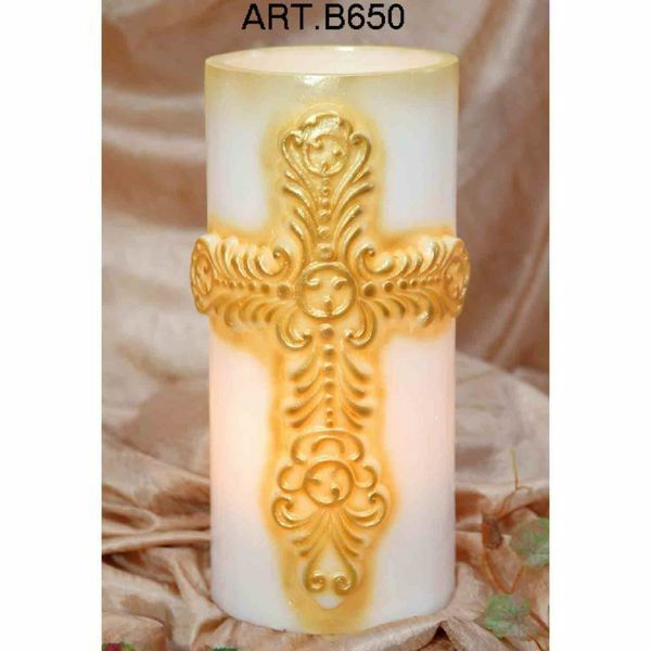 Picture of Vase with Cross for candles, white, decorated by hand by a more than a century old Italian workshop. First quality paraffin.