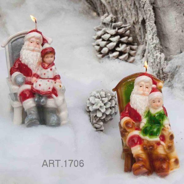 Immagine di Candela natalizia Babbo Natale con Bambina