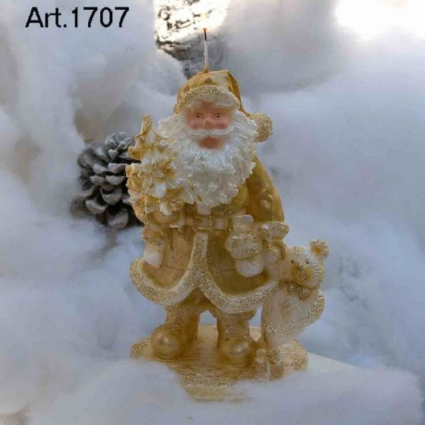 Picture of Christmas Candle Santa Claus with Bear