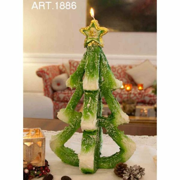 Picture of Christmas Tree with Snow Christmas Candle