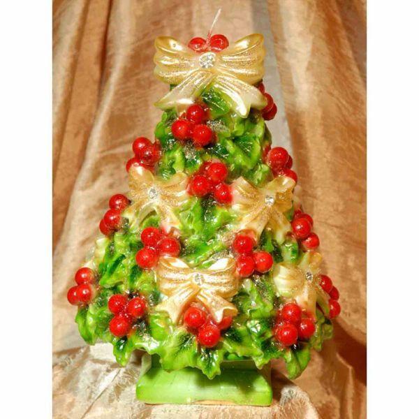 Immagine di Candela natalizia Agrifoglio verde con Pietre